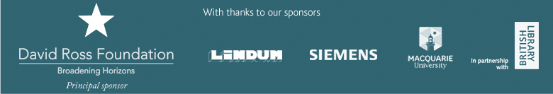 With thanks to our sponsors: David Ross Foundation, Lindum, Siemens, Macquarie University